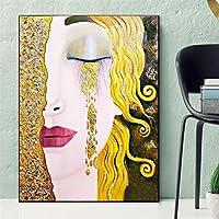 ファッションキャンバス絵画 グスタフ・クリムト黄金のは、ウォールアートプリントピクチャー有名なクラシックアートホームデコレーション絵画絵画涙 (Color : Lye1024 01, Size (Inch) : 50X75CM)