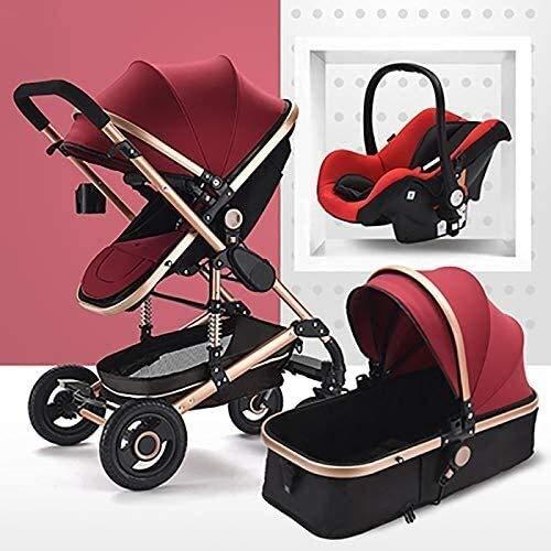 YZPTD Cochecito de bebé Plegable, bidireccional, 3 en 1 Carro de bebé, Cochecito de Silla de Amortiguador, con Canasta para bebés para cochecitos recién Nacidos (Color: Tubo de Oro-Rojo)