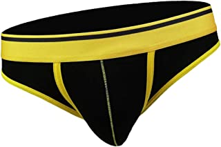 D DOLITY Men 100% Cotton Briefs Low Rise Bikini Underpants Underwear Thong G-string with Big Bulge Pouch and Wide Elastic Waistband