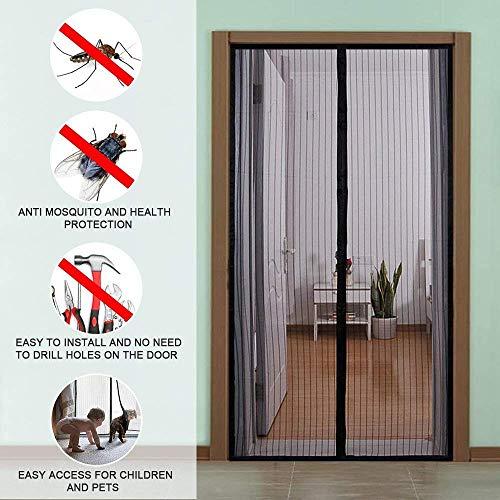 ZXPAG Magnetische vliegendeur, insectenbescherming zonder boren Krachtig Magnetisch gaas gordijn met volledig frame klittenband en drukknoppen/muggennet voor Patio, glijden, grote deur /