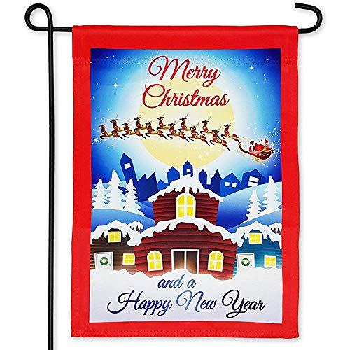 CHANGSHABF Aangepaste Tuin Vlag Thuis Vrolijk Kerstmis Tuin Vlag & Ndash; Dubbelzijdig afdrukken 30 X 45 Cm Kerstman Met Slee En Rendier & Gelukkig Nieuwjaar Huis Banner Vlaggen