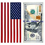 Kaufman - 100 Dollar Bill and American Flag - Printed Beach Towel...