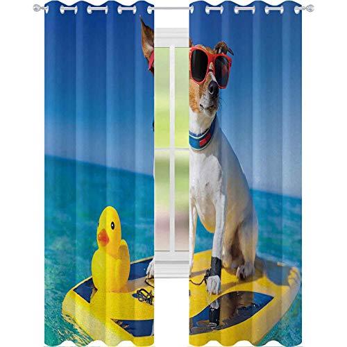 Cortinas opacas para dormitorio, diseño de perro con gafas de sol y pato de goma en tabla de surf en Ocean Shore Fun Summer, 63 pulgadas de largo bloqueo de luz para guardería, multicolor