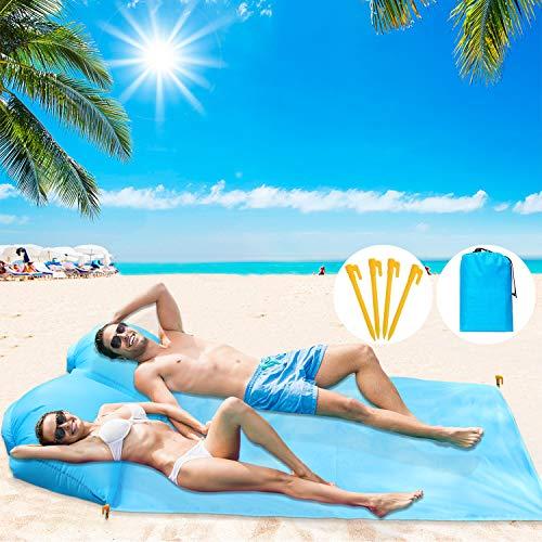 BHeadCat Tragbare Stranddecke mit Luftkissen, sanddichtem wasserdichtem Pad zum Sonnenbaden am Strand, Camping, Picknick, Reisen, Wandern, mit Aufbewahrungstasche (für 2 Personen)