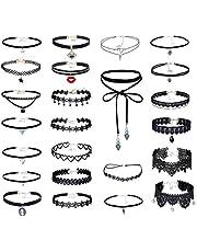 Elegant Rose - Set di 24 collane girocollo gotiche in pizzo, girocollo elasticizzato, in velluto classico, nero