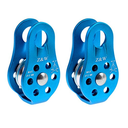 2 Stück/Set Umlenkrolle Seilrollen 20KN Einzelne Riemenscheibe, Tandem Pulley Klettern Rettung für 8-12 mm Seile (Blau)