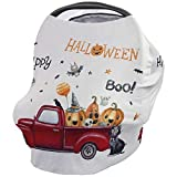 Nursing Covers for Breastfeeding All-in-1 Stretchy Breathable Carseat Canopy Happy Halloween Boo Nursing Cover Up for Girls, Boys 26x27.6 inches Red Truck Pumpkin Black Cat Cartoon