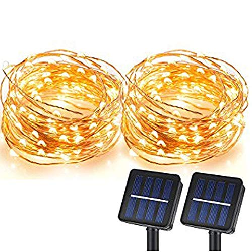 Solar String Lights, Magictec 100 LEDs Starry String Lights, Copper Wire Solar Lights Ambiance Lighting for Outdoor, Gardens, Homes, Dancing, Christmas Party 2 Pack