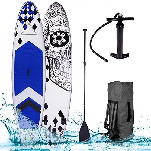 "SUP Board Stand up Paddling Surfboard\""Candy Skull\"" 320x76x15cm aufblasbar Alu-Paddel Hochdruck-Pumpe Rucksack 130KG Tragkraft"
