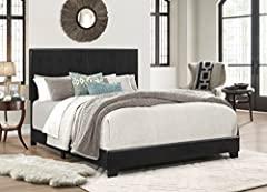 Complete bed with headboard, footboard, and rails Neutral upholstery lets this bed fit a variety of decors Crafted with a manufactured wood and plywood frame; black faux leather upholstery. Easy assembly; All parts for making the bed are located in t...