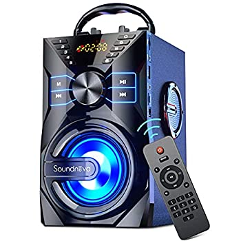 Soundnova K9  2nd Gen  - 25W Loud Party Portable Bluetooth Speaker with 10W Subwoofer 6000mah Libattery Lights Mic AUX Remote Control U Disk SD TF Card Wooden Wireless Speaker for Home Outdoor Camping