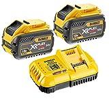 DEWALT XRFLEXVOLT Lot de 2batteries DCB547 de18/54V et 9Ah et chargeur rapide DCB118 de 18V Jaune