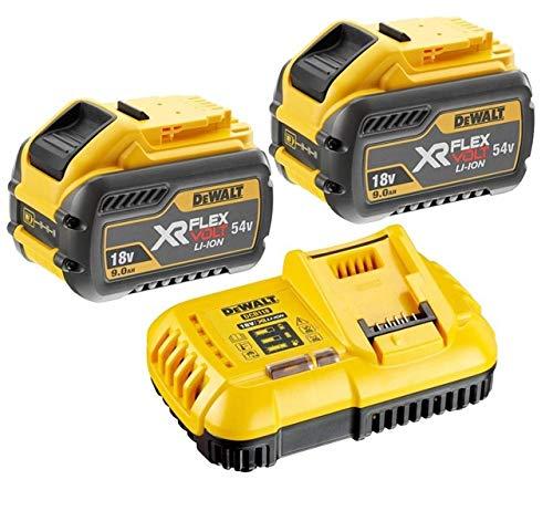 DEWALT 2 baterías DCB547 18 V/54 V XR FLEXVOLT 9.0ah + Cargador rápido DCB118, 18 V, Amarillo