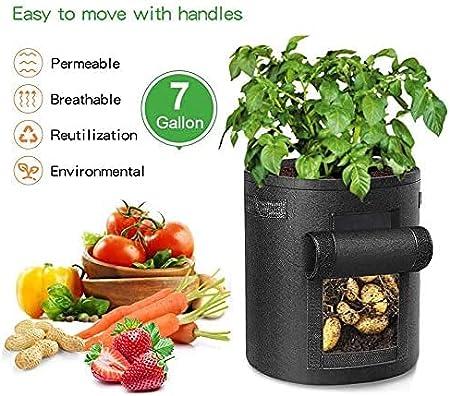 3 Pi/èces 7 Gallons Sac /à Plantes Conteneur de Plantation de L/égumes avec Fen/être Visible Transparente Sac Durable Respirant pour la Culture de Pomme de Terre Sac de Culture de Plantes