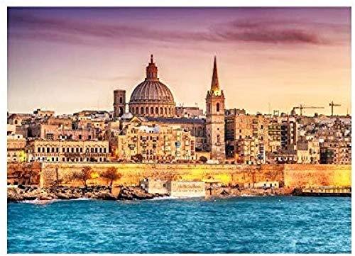 LAZNG 1000 Stück Puzzles für Erwachsene Teen Klassische Puzzle Valletta Malta für Familienhäuser Bildungsspiele
