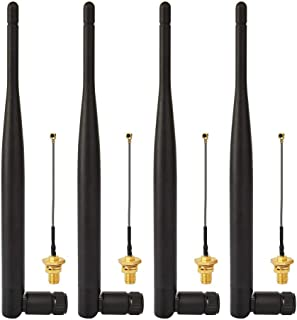 Superbat 4 x 6dBi 2.4GHz/5GHz Dual Band WiFi RP-SMA Antenna + 4 x 15cm U.fl/IPEX Cable for Wireless Routers Mini PCIe Cards Network Extension Bulkhead Pigtail PCI WiFi WAN Repeater