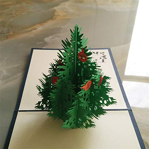 Green3DMerry Christmas Christmas Tree3DLaser Cutting pop-up Paper Large Piece of Handmade Postcard Christmas Card Gift Display