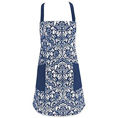 DII Cotton Adjusatble Women Kitchen Apron with Pockets and Extra Long Ties, 37.5 x 29 , Cute Apron for Cooking, Baking, Gardening, Crafting, BBQ-Damask Nautical Blue