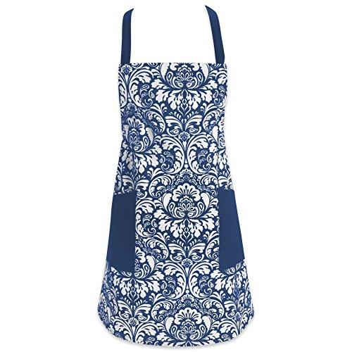 DII Delantal Impreso 100% de algodoón con Correa Ajustable de Cuello, amarras en la Cintura y Bolsillos Frontales, Color Gris/Azul Marino
