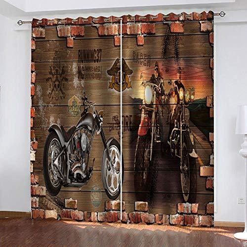 SFALHX Gordijnen, ondoorzichtig, met ogen, verduisteringsgordijn, thermogordijn, lichtdicht, voor woonkamer, slaapkamer, keuken, 2 x 117 x 138 cm, retro motorfiets