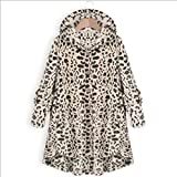 None/Brand Leopard Print Jacket Women's European and American Button Solid Color Hooded Jacket