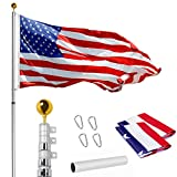 WeValor 25FT Telescoping Flag Pole Kit, Heavy Duty 16 Gauge Aluminum Outdoor In Ground Flag Poles with 3x5 USA Flag, for Residential or Commercial, Silver
