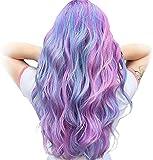 Lianlili Peluca de Unicornio Ombre Largo Cabello Ondulado Ondulado Rizado para Las Mujeres Vestido de Lujo Anime Cosplay Party (Color : Blue Mixed Purple Pink)