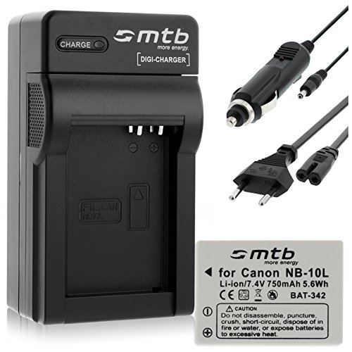 Batería + Cargador (Coche/Corriente) para Canon NB-10L / PowerShot G15, G16, G1X, SX40 HS, SX50 HS.