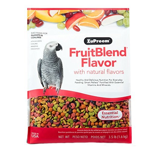ZuPreem FruitBlend Bird Food for Small, Medium, Large Birds, Parrots & Conures | Naturally Flavored, Powerful Pellets | Made in The USA (Parrots & Conures, 3.5 lb)
