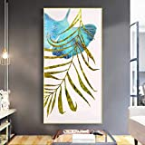 CDERFV Hoja de Palma Planta Dorada Impresión en Lienzo Pintura Carteles Abstractos Modernos e Impresiones Imágenes artísticas de Pared para decoración de Sala de estar-50x100cm (sin Marco)