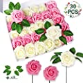 OurWarm 30pcs Artificial Flowers Decor Fake Foam Roses with Stems for Home Mother's Day DIY Wedding Bouquets Garden Table Decorations, Real Touch Blush Pink & Off White
