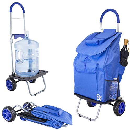 dbest products Bigger Trolley Dolly, Blue Shopping Grocery Foldable Cart