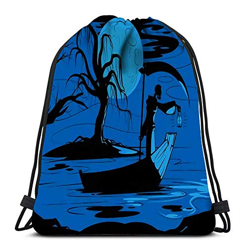 Hdadwy Drawstring Backpack Bags Sports Cinch Grim Reaper On His Journey to Underworld String Backpack Bulk Storage Bags for School Gym