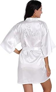Kimono de satén para mujer para dama de honor y novia, boda, fiesta, preparación, bata corta con purpurina dorada