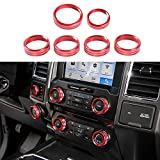 Keptrim for F150 Air Conditioner Switch & Trailer & 4WD & VOL Knob Button Trim for Ford F150 XLT 2016 2017 2018 2019 2020 2021, Red Aluminum, 6pcs