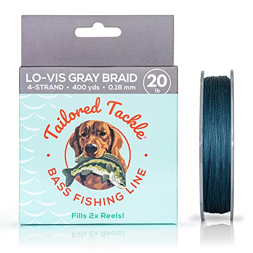 Bass Braided Fishing Line 20Lb 400Yds Lo Vis Gray Night |4 Strand Braid Bass Fishing Line for Largemouth Bass and Smallmouth Bass