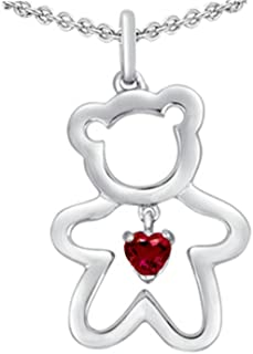Sterling Silver Love Teddy Bear Pendant Necklace with 4mm Heart Shape Stone