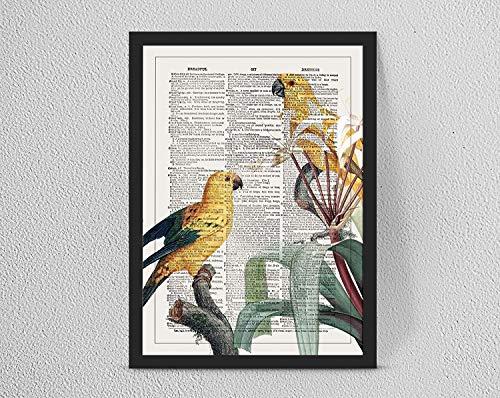 Retro/Vintage Dictionary Print, Botanical Birds Parrots Wall Art, Home...