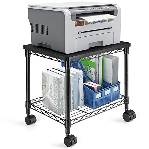 HUANUO Under Desk Printer Stand - 2 Tier Printer Cart for Storage, Mobile Printer Riser with Swivel Wheels, Holds up to 100 lbs, Perfect Desk Organizer Shelf for Home & Office