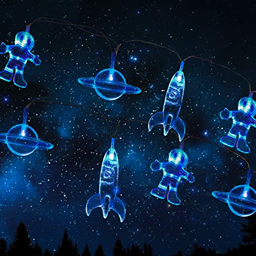 Lunar Spaceman LED Fairy Lights 3M 20 LED Battery Operated Astronaut Spaceship Rocket String lights Children's Room LED String Light Holiday Party Lights Wall Window Nursery Kids Room Decor Blue