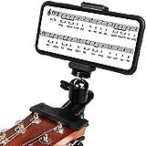 YSINOBEAR Soporte para guitarra, soporte para teléfono para guitarra y bajo, soporte para transmisión en vivo para iPhone, Samsung, teléfonos inteligentes y guitarra, soporte para cabeza