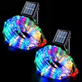 Solar Rope Lights Outdoor Waterproof LED, 2 Pack 33ft 100 LED Solar Rope String...