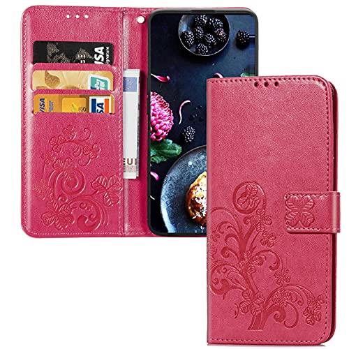 Compatible con Xiaomi Mi A2 Lite PU Cartera de Cuero Funda con Soporte para Tarjeta Soporte Magnético con Tapa Funda Protectora móvil para Redmi 6 Pro/Mi A2 Lite Rose Red Leaf SD