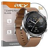 REY Pack 3X Panzerglas Schutzfolie für Honor Magic Watch 2 46mm, Bildschirmschutzfolie 9H+ Festigkeit, Anti-Kratzen, Anti-Öl, Anti-Bläschen
