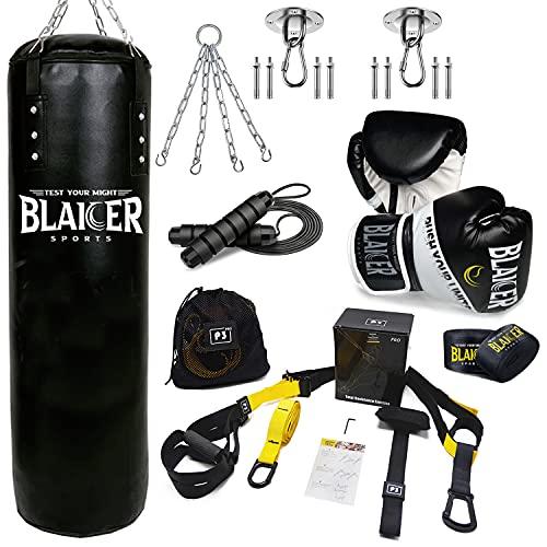 BLAICER Saco de Boxeo sin Relleno Equipado con Guantes de Boxeo, Cuerda Saltar, Vendas de Boxeo, Cadena, Soporte y Sistema de Entrenamiento en Suspensión | Completo Kit para Gimnasio en Casa (Negro)