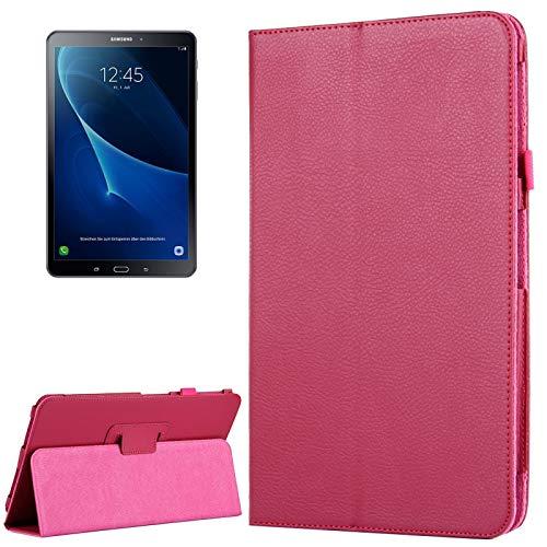 YANTAIAN Caso para Samsung Galaxy Tab A 10.1 / T580 Litchi Textura magnética Horizontal Flip Funda de Cuero con Soporte y función de Reposo/Despertador (Color : Magenta)