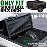 Topline Autopart Tri Fold Soft Vinyl Truck Bed Tonneau Cover For 14-18 Chevy...