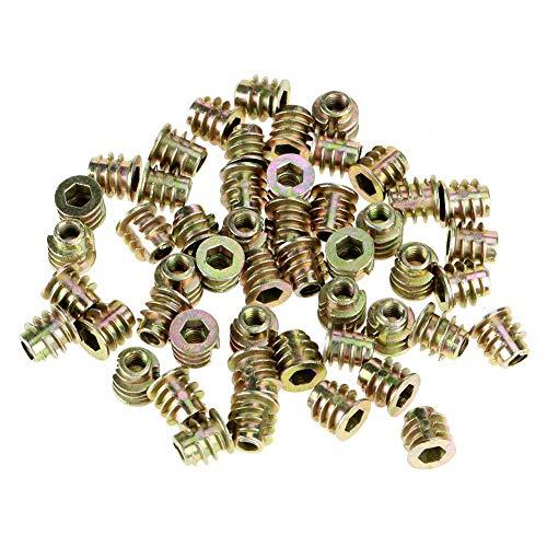 FTVOGUE - 50 tuercas de rosca M4 x 8 mm de aleación de cinc con rosca interior hexagonal, tuercas de fijación para inserto de madera