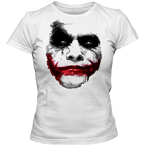 Joker T-Shirt | Damenshirt | Shadow Shirt | Heath Ledger, Farbe:weiß (White);Größe:S