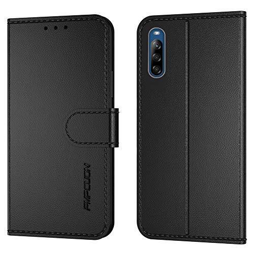 FMPCUON Handyhülle Kompatibel mit Sony Xperia L4(Neueste),Premium Leder Flip Schutzhülle Tasche Hülle Brieftasche Etui Hülle für Sony Xperia L4(6.2 Zoll),Schwarz